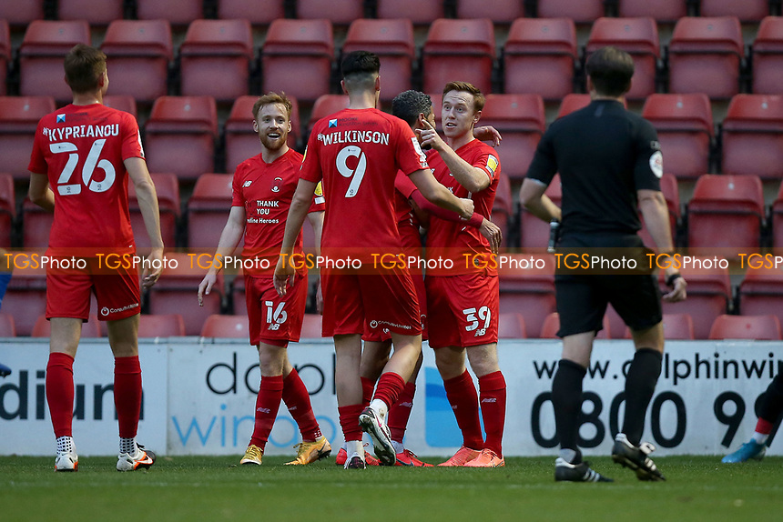 Danny Johnson of Leyton Orient scores the second goal for his team and celebrates with his team mates during Leyton Orient vs Harrogate Town, Sky Bet EFL League 2 Football at The Breyer Group Stadium on 21st November 2020