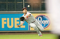 Philadelphia Phillies outfielder Raul Ibanez #29 dives for a ball during the Major League Baseball game against the Houston Astros at Minute Maid Park in Houston, Texas on September 12, 2011. Houston defeated Philadelphia 5-1.  (Andrew Woolley/Four Seam Images)