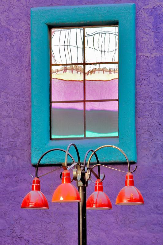 Colorful lamplight with windows in La Placita Village. Tucson. Arizona