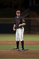 AZL Giants Black relief pitcher Garrett Christman (84) looks to his catcher for the sign during an Arizona League game against the AZL Royals at Scottsdale Stadium on August 7, 2018 in Scottsdale, Arizona. The AZL Giants Black defeated the AZL Royals by a score of 2-1. (Zachary Lucy/Four Seam Images)