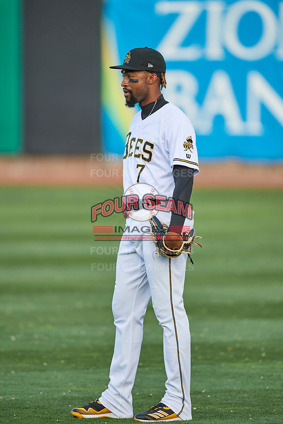 Jo Adell (7) of the Salt Lake Bees during the game against the Reno Aces at Smith's Ballpark on May 8, 2021 in Salt Lake City, Utah. The Aces defeated the Bees 6-5. (Stephen Smith/Four Seam Images)