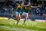 Paul Geaney, Kerry, celebrates scoring Kerry's fourth goal with David Clifford during the Munster GAA Football Senior Championship Final match between Kerry and Cork at Fitzgerald Stadium in Killarney on Sunday.