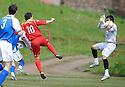 Scott Chaplain (10) scores Albion Rovers' first goal ......