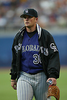 Jason Jennings of the Colorado Rockies during a 2003 season MLB game at Dodger Stadium in Los Angeles, California. (Larry Goren/Four Seam Images)