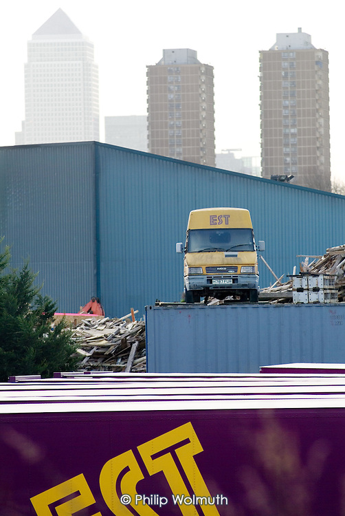 Building waste disposal company situated on the proposed site in Stratford, East London, on which a new Olympic Stadium will be built if London's bid for the 2012 Games is successful.