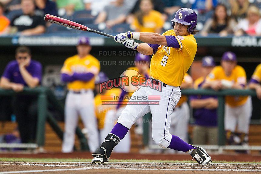 LSU Tigers outfielder Chris Sciambra (5) swings the bat against the TCU Horned Frogs in Game 10 of the NCAA College World Series on June 18, 2015 at TD Ameritrade Park in Omaha, Nebraska. TCU defeated the Tigers 8-4, eliminating LSU from the tournament. (Andrew Woolley/Four Seam Images)