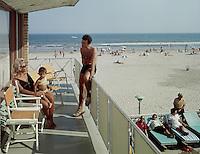 Crown Motel, Wildwood, NJ. 1960's Family on the Motel Balcony that overlooks the Beach.