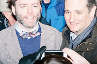 Texas senator and Republican presidential candidate Ted Cruz greets people after speaking at a Second Amendment Rally outside Granite State Indoor Range in Hudson, New Hampshire.