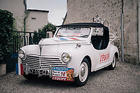 Today by the Tour's roadside: an original 1958 Tour de France Peugeot 203 teamcar as 1 of only 13 constructed. Back in the day, the race organiser alledgedly provided each team with the same (specifically made) teamcar.  This model was restored to it's original state by a french cycling enthousiast. An classic Peugeot bicycle in the rear rack completes the (re)build.<br /> <br /> 104th Tour de France 2017<br /> Stage 11 - Eymet › Pau (202km)