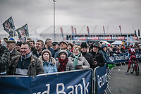 Quite a crowd (for a working day friday) at the pre race team presentation.<br /> <br /> 61th E3 Harelbeke 2018 (1.UWT)<br /> 1day race: Harelbeke › Harelbeke - BEL (206km)
