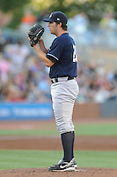 Empire State starting pitcher Adam Warren #28 delivers a pitch during a game against the Durham Bulls  at Durham Bulls Athletic Park on June 8, 2012 in Durham, North Carolina . The Yankees defeated the Bulls 3-1. (Tony Farlow/Four Seam Images).