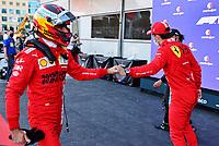 5th June 2021;   F1 Grand Prix of Azerbaijan 55 Carlos Sainz ESP, Scuderia Ferrari Mission Winnow con gatulates pole winner 16 Charles Leclerc MON, Scuderia Ferrari Mission Winnow, F1 Grand Prix of Azerbaijan at Baku City Circuit
