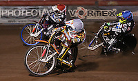 Heat 3: Mads Korneliussen (white), Davey Watt (red) and Lewis Bridger (blue) - Lakeside Hammers vs Leicester Lions, Elite League Speedway at the Arena Essex Raceway, Pufleet - 04/04/14 - MANDATORY CREDIT: Rob Newell/TGSPHOTO - Self billing applies where appropriate - 0845 094 6026 - contact@tgsphoto.co.uk - NO UNPAID USE