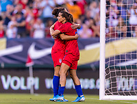 PHILADELPHIA, PA - AUGUST 29: Carli Lloyd #10 and Tobin Heath #17 of the United States celebrate during a game between Portugal and the USWNT at Lincoln Financial Field on August 29, 2019 in Philadelphia, PA.