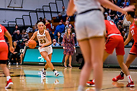 19 February 2020: University of Vermont Catamount Guard Emma Utterback, a Freshman from Greenwood, IN, in first-half action against the Stony Brook Seawolves at Patrick Gymnasium in Burlington, Vermont. The Lady Seawolves edged out the Lady Catamounts 72-68 in America East Women's Basketball. Mandatory Credit: Ed Wolfstein Photo *** RAW (NEF) Image File Available ***