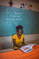 Haiti, Gros-Morne. Love-mica Dieujuste, a scholar supported by Mercy Beyond Borders.