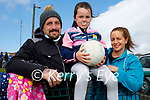 Kate Rose Lynch enjoying her return to juvenile football training in Ballymac on Sunday morning, l to r: Pa and Katie Rose Lynch and Catherine Baily.
