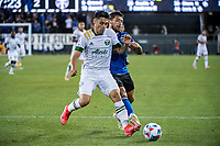 SAN JOSE, CA - MAY 15: Felipe Mora #9 of the Portland Timbers dribbles the ball during a game between San Jose Earthquakes and Portland Timbers at PayPal Park on May 15, 2021 in San Jose, California.