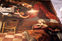 Dettaglio del dipinto 'L'Annunciazione' di Tintoretto, nella Sala Terrena della Scuola Grande di San Rocco a Venezia.<br /> Detail of the painting 'The Annunciation' by Tintoretto in the  Sala Terrena of the Scuola Grande di San Rocco, Venice.<br /> UPDATE IMAGES PRESS/Riccardo De Luca