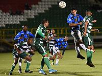 TUNJA - COLOMBIA, 27-09-2021: Boyacá Chicó F.C. y Valledupar F.C. en partido por la fecha 10 como parte del Torneo BetPlay DIMAYOR II 2021 jugado en el estadio La Independencia de la ciudad de Tunja. / Boyaca Chico F.C. and Valledupar F.C. in match for the date 10 as part of BetPlay DIMAYOR Tournament II 2021 played at La Independencia stadium in Tunja city. Photo: VizzorImage / Macgiver Baron / Cont