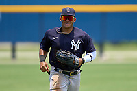 FCL Yankees outfielder Jasson Dominguez (25) jogs to the dugout during a game against the FCL Tigers on June 28, 2021 at Tigertown in Lakeland, Florida.  (Mike Janes/Four Seam Images)