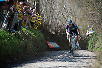 Ian Stannard (GBR/Sky) over the Koppenberg<br /> <br /> 100th Ronde van Vlaanderen 2016