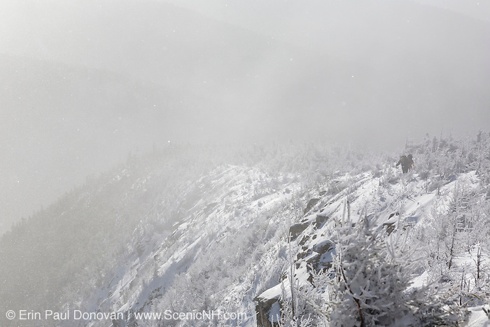 Strong winds blow snow across the Old Bridle Path during the winter months in the White Mountains, New Hampshire USA. Hikers can be seen ascending the trail.