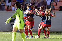 Houston, TX - Sunday Oct. 09, 2016: Crystal Dunn celebrates scoring, Ali Krieger, Francisca Ordega, Estefania Banini during the National Women's Soccer League (NWSL) Championship match between the Washington Spirit and the Western New York Flash at BBVA Compass Stadium. The Western New York Flash win 3-2 on penalty kicks after playing to a 2-2 tie.