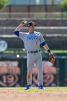 Mesa Solar Sox shortstop Nico Hoerner (17), of the Chicago Cubs organization, during an Arizona Fall League game against the Glendale Desert Dogs at Camelback Ranch on October 15, 2018 in Glendale, Arizona. Mesa defeated Glendale 8-0. (Zachary Lucy/Four Seam Images)