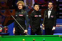 17th April 2021; Crucible Theatre, Sheffield, England; Betfred Snooker World Championships; China's Liang Wenbo C and Australia's Neil Robertson L are seen during the first round match between China's Liang Wenbo and Australia's Neil Robertson