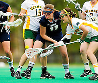 1 May 2010: University of New Hampshire Wildcat attacker Jenny Simpson, a Freshman from New Canaan, CT, in action against the University of Vermont Catamounts at Moulton Winder Field in Burlington, Vermont. The visiting Wildcats defeated the Lady Catamounts 18-10 in the last game of the 2010 regular season. Mandatory Photo Credit: Ed Wolfstein Photo