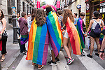 Celebration of the annual high-heeled race (Carrera de tacones) during the festivity of World Pride Madrid 2017 at Pelayo street in Madrid, June 28, 2017. Spain.<br /> (ALTERPHOTOS/BorjaB.Hojas)