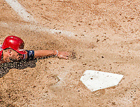 26 April 2014: Washington Nationals outfielder Kevin Frandsen slides home on a Denard Span single in the 6th inning to score the Nationals 4th run against the San Diego Padres at Nationals Park in Washington, DC. The Nationals shut out the Padres 4-0 to take the third game of their 4-game series. Mandatory Credit: Ed Wolfstein Photo *** RAW (NEF) Image File Available ***