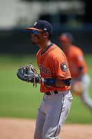 GCL Astros first baseman Jose Alvarez (6) during a Gulf Coast League game against the GCL Nationals on August 9, 2019 at FITTEAM Ballpark of the Palm Beaches training complex in Palm Beach, Florida.  GCL Nationals defeated the GCL Astros 8-2.  (Mike Janes/Four Seam Images)
