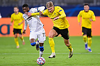 DORTMUND, GERMANY - NOVEMBER 24 : Erling Braut Haaland forward of Borussia Dortmund is fighting for the ball with Clinton Mata defender of Club Brugge during the UEFA Champions League Group stage - group F, 2nd leg match between Borussia Dortmund and Club Brugge at the Signal Iduna Park stadium on November 24, 2020 in Dortmund, Germany, 24/11/2020 ( Photo by Nico Vereecken / Photo News<br /> Borussia Dortmund - Club Brugge <br /> Champions League 2020/2021<br /> Photo Photonews / Panoramic / Insidefoto <br /> Italy Only