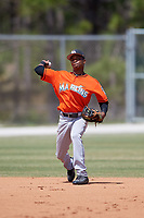 Miami Marlins Jose Devers (55) during a Minor League Spring Training game against the St. Louis Cardinals on March 26, 2018 at the Roger Dean Stadium Complex in Jupiter, Florida.  (Mike Janes/Four Seam Images)