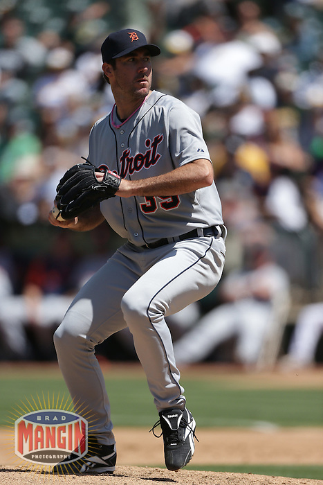 OAKLAND, CA - MAY 13:  Justin Verlander #35 of the Detroit Tigers pitches during the game against the Oakland Athletics on Sunday, May 13, 2012 at the O.co Coliseum in Oakland, California. Photo by Brad Mangin