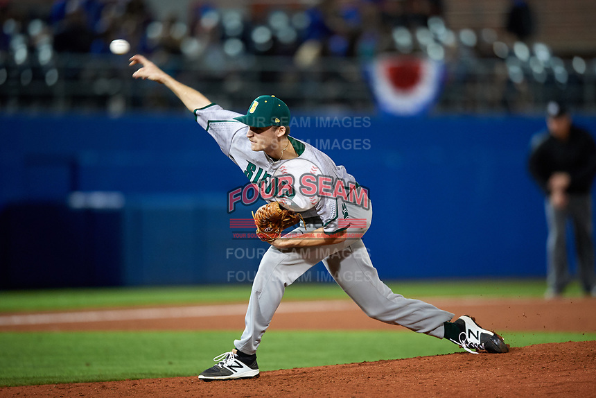Siena Saints relief pitcher Tom Sutera (45) delivers a pitch during a game against the Florida Gators on February 16, 2018 at Alfred A. McKethan Stadium in Gainesville, Florida.  Florida defeated Siena 7-1.  (Mike Janes/Four Seam Images)