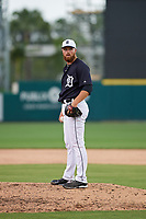 Detroit Tigers relief pitcher Buck Farmer (45) during a Grapefruit League Spring Training game against the New York Yankees on February 27, 2019 at Publix Field at Joker Marchant Stadium in Lakeland, Florida.  Yankees defeated the Tigers 10-4 as the game was called after the sixth inning due to rain.  (Mike Janes/Four Seam Images)