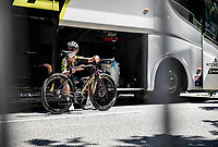 Jack Bauer (AUS/Mitchelton-Scott) pre stage at the teambus<br /> <br /> Stage 7 from Millau to Lavaur 168km<br /> 107th Tour de France 2020 (2.UWT)<br /> (the 'postponed edition' held in september)<br /> ©kramon