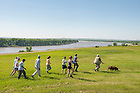 June 9, 2015; Gary Belovsky, director of UNDERC-West leads students on a tour at Double Ditch Indian Village State Historic Site overlooking the Missouri River in Bismarck, ND. (Photo by Barbara Johnston/University of Notre Dame)