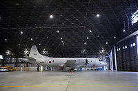 A Japan Maritime Self Defence Force PC3 reconnaissance plane, in a base in Naha city. Okinawa, Japan. 2012