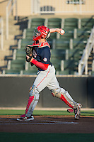 Hagerstown Suns catcher Jakson Reetz (21) makes a throw to second base between innings of the game against the Kannapolis Intimidators at Kannapolis Intimidators Stadium on May 4, 2016 in Kannapolis, North Carolina.  The Intimidators defeated the Suns 7-4.  (Brian Westerholt/Four Seam Images)