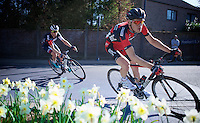 race leaders Ben Hermans (BEL/BMC) & David Tanner (AUS/IAM) try to stay ahead of the peloton with about 25km to go<br /> <br /> 55th Brabantse Pijl 2015