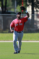 Boston Red Sox minor league outfielder Brandon Jacobs (43) during a game vs. the Minnesota Twins in an Instructional League game at Lee County Sports Complex in Fort Myers, Florida;  October 1, 2010.  Photo By Mike Janes/Four Seam Images
