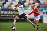 US midfielder Carli Lloyd dribbles down field vs Norway in Olhao, Portugal during the 2010 Algarve Cup.