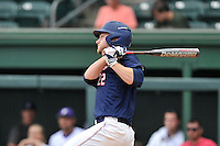 Right fielder Heath Quinn (22) of the Samford Bulldogs bats against Furman in a SoCon Tournament game on Saturday, May 28, 2016, at Fluor Field at the West End in Greenville, South Carolina. (Tom Priddy/Four Seam Images)