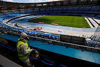 12th June 2020, San Paolo Stadium, Naples, Italy; Napoli's San Paolo stadium sanitization before the Coppa Italia game which resumes the competition after the Covid-19 virus infection delayed the competition