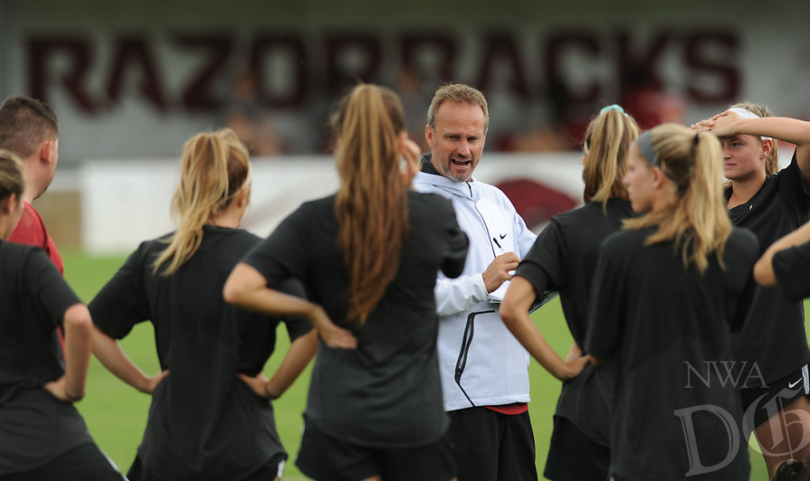 NWA Democrat-Gazette/ANDY SHUPE<br /> Arkansas soccer coach Colby Hale speaks Wednesday, Aug. 16, 2017, to members of his team at Razorback Field in Fayetteville. The Razorbacks enter the season ranked 17th and are coming off a year they finished No. 19, made the SEC tournament finals and won a match in the NCAA Tournament.