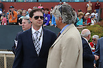 April 10, 2015: Untapable trainer Steve Asmussen talking racing after the Apple Blossom Handicap at Oaklawn Park in Hot Springs, AR. Justin Manning/ESW/CSM